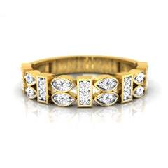 diamond studded gold jewellery - Siona Band Ring - Pristine Fire - 2