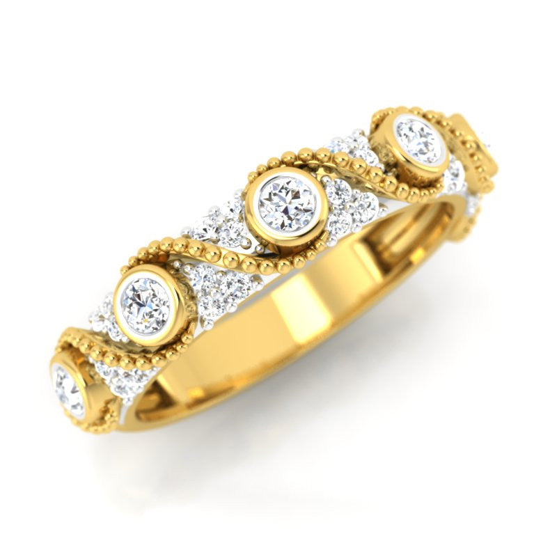 diamond studded gold jewellery - Zaliki Band Ring - Pristine Fire - 1