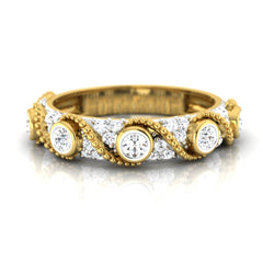 diamond studded gold jewellery - Zaliki Band Ring - Pristine Fire - 2
