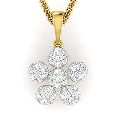 diamond studded gold jewellery - Suraya Cluster Pendant - Pristine Fire - 2