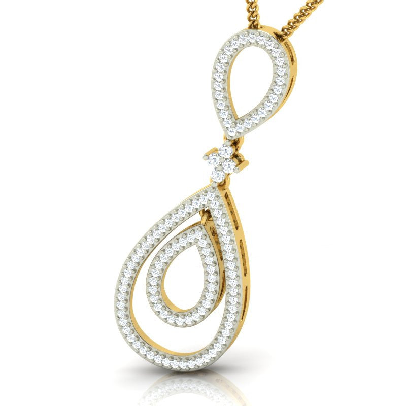 diamond studded gold jewellery - Neske Fashion Pendant - Pristine Fire - 1