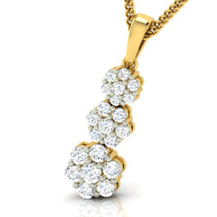 diamond studded gold jewellery - Lovita Cluster Pendant - Pristine Fire - 1
