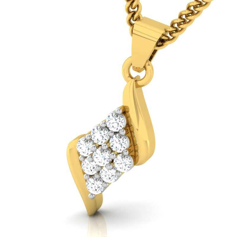 diamond studded gold jewellery - Morna Casual Pendant - Pristine Fire - 1