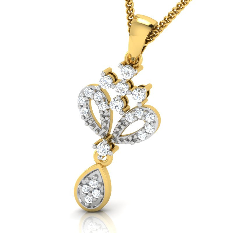 diamond studded gold jewellery - Isidora Casual Pendant - Pristine Fire - 1