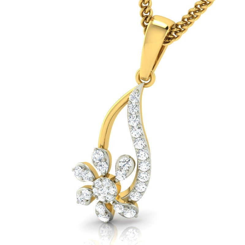 diamond studded gold jewellery - Marlene Casual Pendant - Pristine Fire - 1