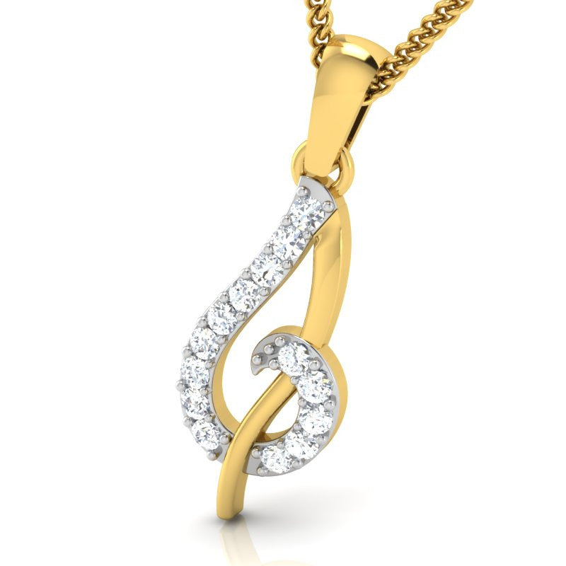 diamond studded gold jewellery - Sanne Casual Pendant - Pristine Fire - 1