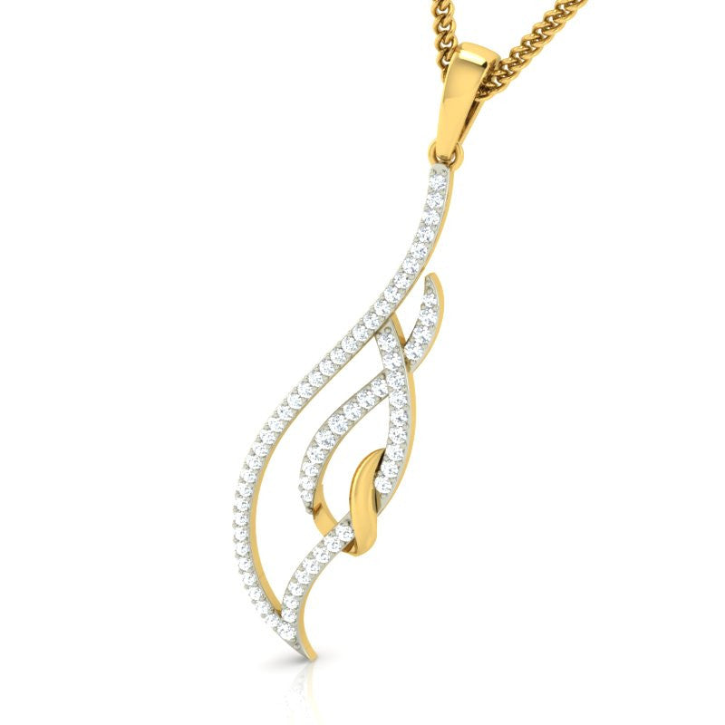 diamond studded gold jewellery - Kalena Casual Pendant - Pristine Fire - 1