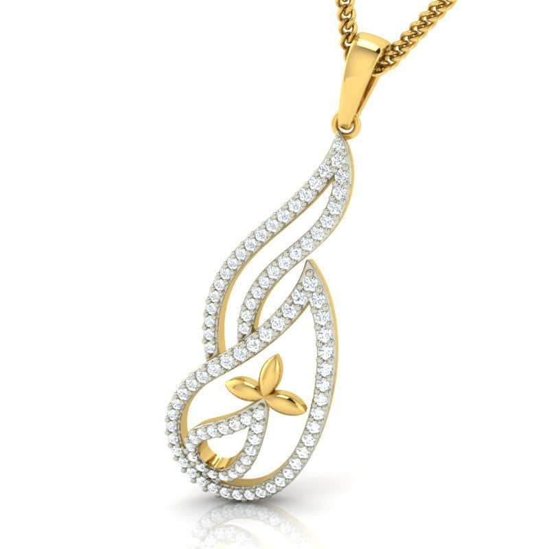 diamond studded gold jewellery - Zina Casual Pendant - Pristine Fire - 1