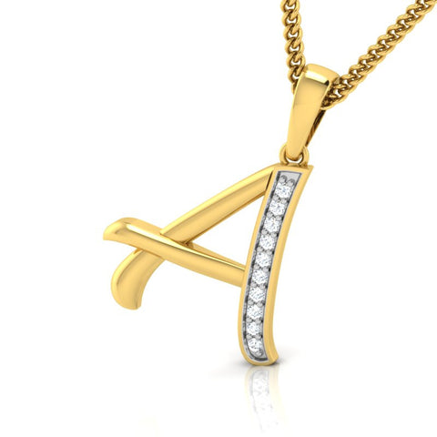 diamond studded gold jewellery - Abriana Alphabet Pendant - Pristine Fire - 1