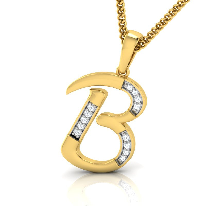 diamond studded gold jewellery - Beatris Alphabet Pendant - Pristine Fire - 1