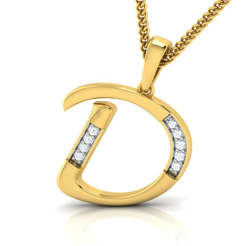 diamond studded gold jewellery - Destiny Alphabet Pendant - Pristine Fire - 1
