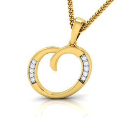 diamond studded gold jewellery - Oriella Alphabet Pendant - Pristine Fire - 1