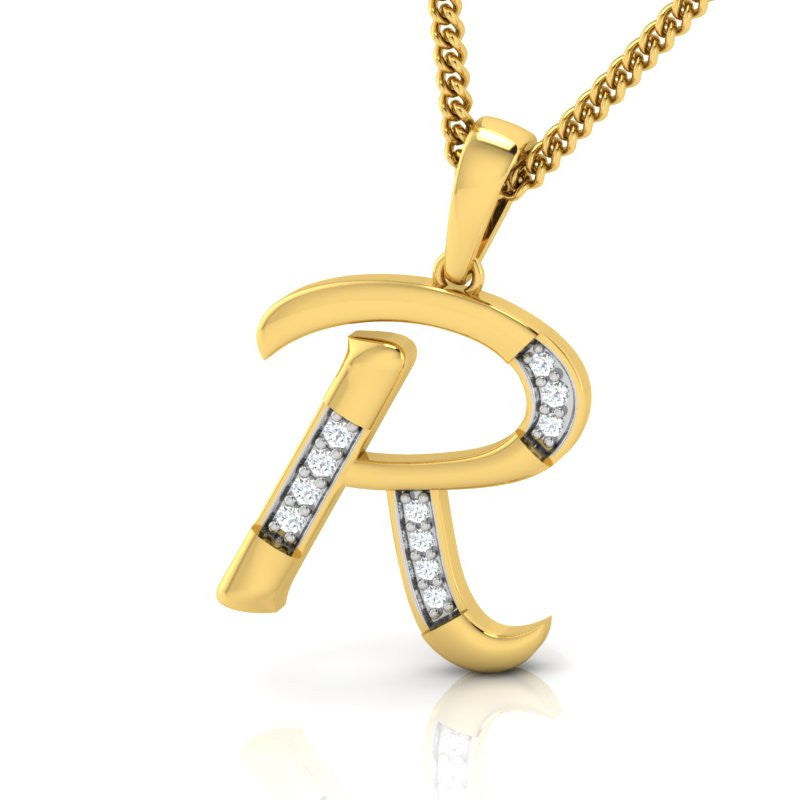 diamond studded gold jewellery - Rheanna Alphabet Pendant - Pristine Fire - 1