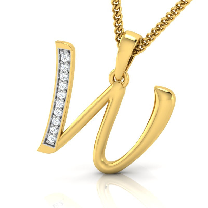 diamond studded gold jewellery - Whitney Alphabet Pendant - Pristine Fire - 1