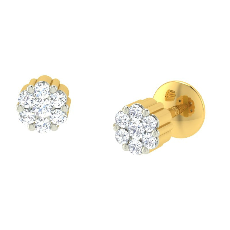 diamond studded gold jewellery - Natali Earring Tops - Pristine Fire - 1