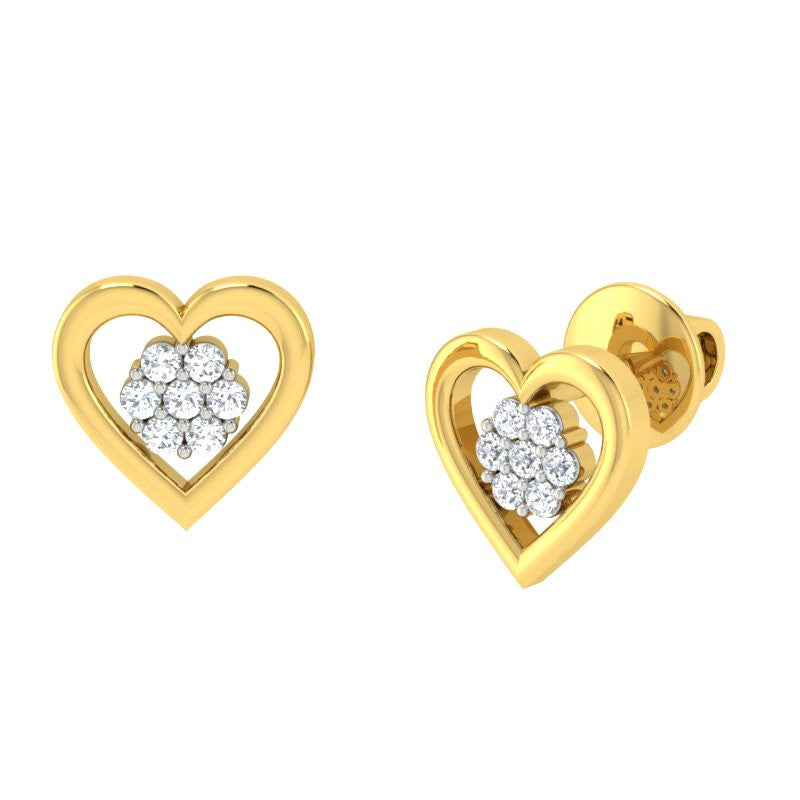 diamond studded gold jewellery - Hulda Earring Tops - Pristine Fire - 1