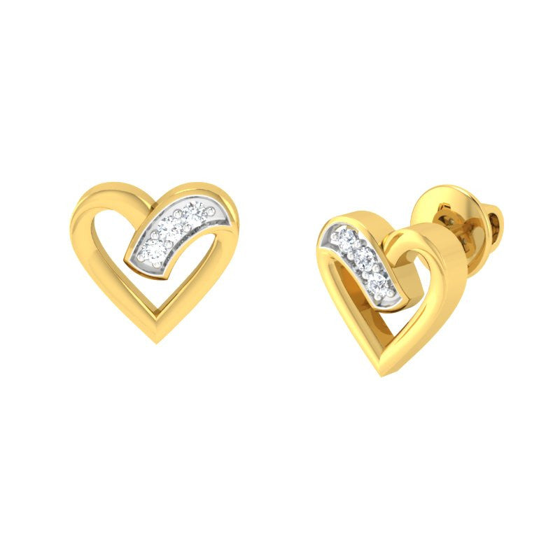 diamond studded gold jewellery - Valera Studs and Tops Earrings - Pristine Fire - 1