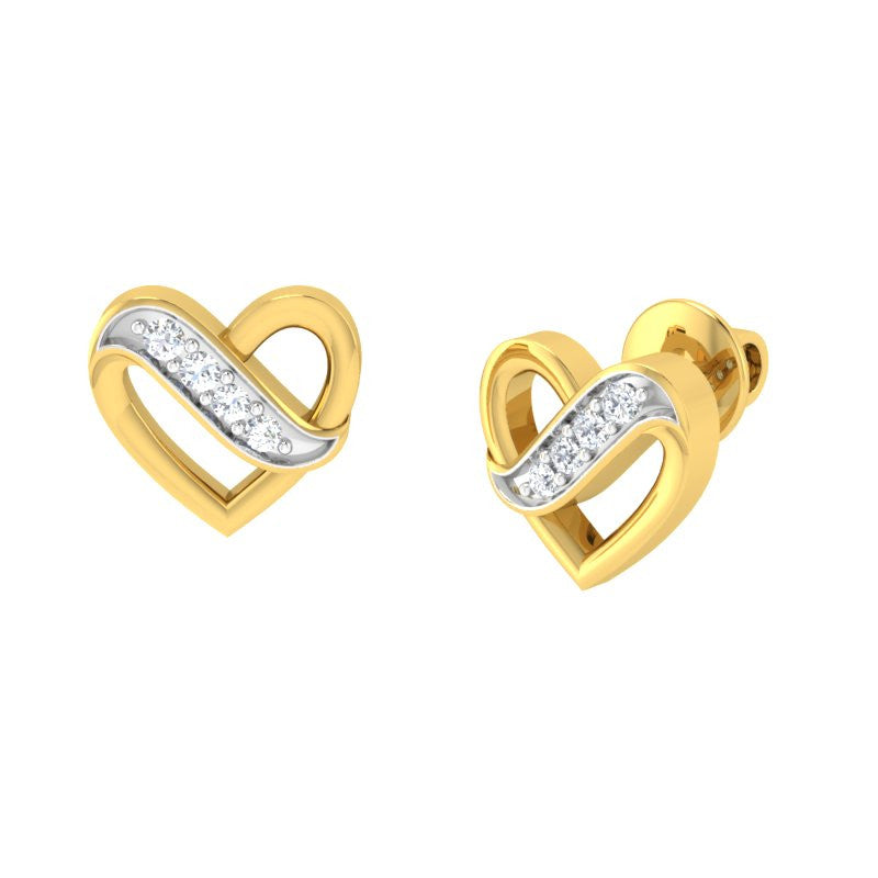 diamond studded gold jewellery - Valora Studs and Tops Earrings - Pristine Fire - 1