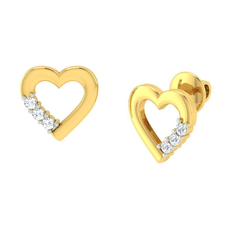 diamond studded gold jewellery - Mirjana Earring Tops - Pristine Fire - 1