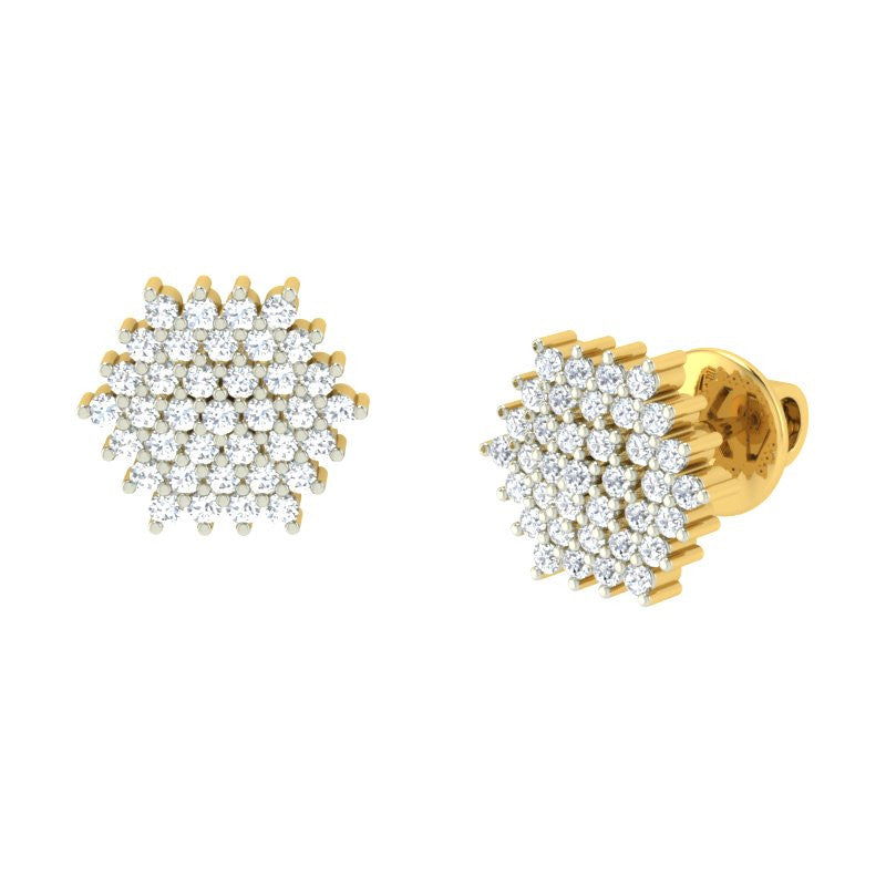 diamond studded gold jewellery - Rosa Earring Tops - Pristine Fire - 1