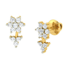 diamond studded gold jewellery - Shauna Earring Tops - Pristine Fire - 1