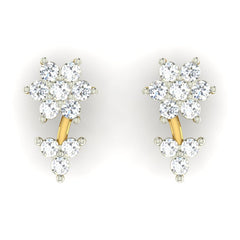 diamond studded gold jewellery - Shauna Earring Tops - Pristine Fire - 2
