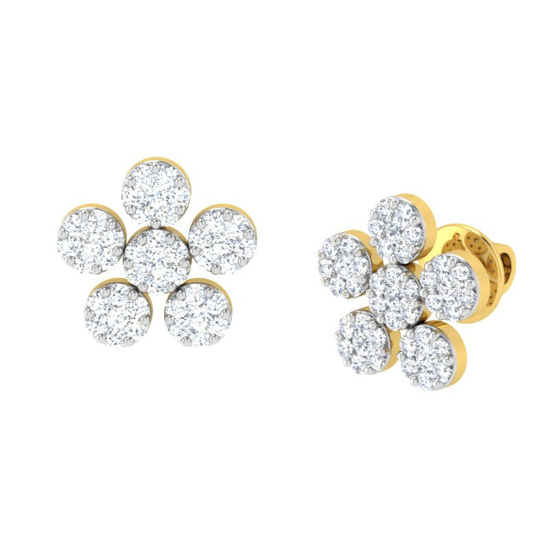 diamond studded gold jewellery - Miracle Earring Tops - Pristine Fire - 1
