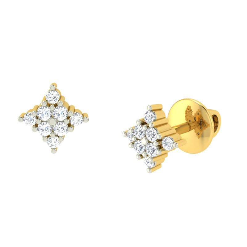diamond studded gold jewellery - Hilary Earring Tops - Pristine Fire - 1