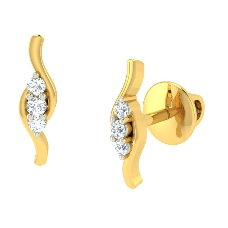 diamond studded gold jewellery - Ilinka Earring Tops - Pristine Fire - 1