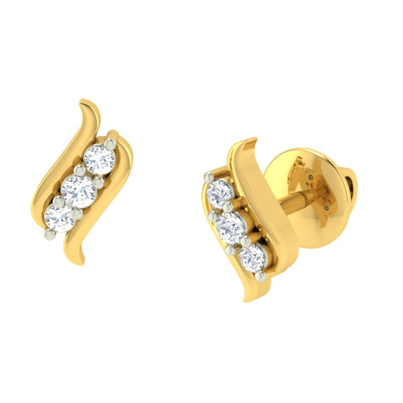 diamond studded gold jewellery - Antonia Earring Tops - Pristine Fire - 1