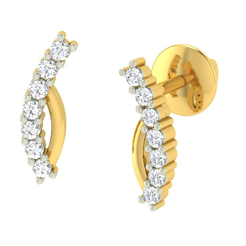 diamond studded gold jewellery - Nancy Earring Tops - Pristine Fire - 1