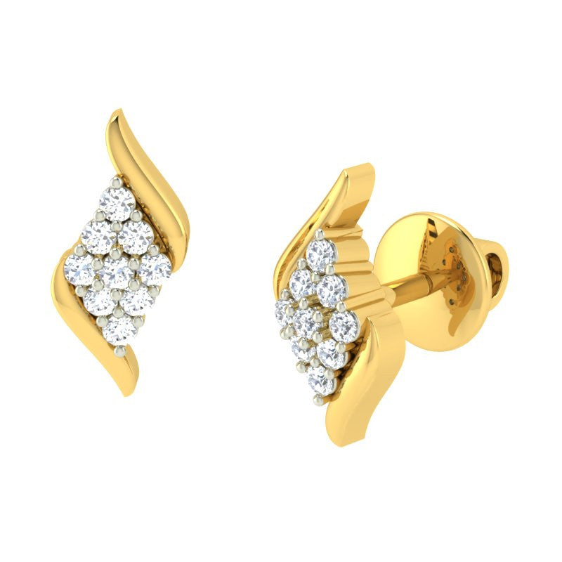 diamond studded gold jewellery - Desta Earring Tops - Pristine Fire - 1