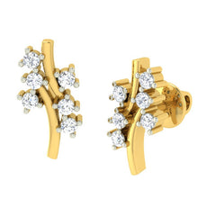 diamond studded gold jewellery - Alyson Earring Tops - Pristine Fire - 1