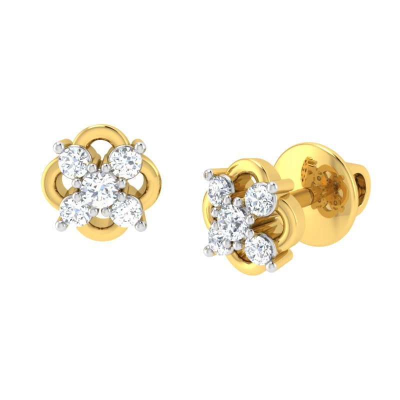 diamond studded gold jewellery - Zaida Earring Tops - Pristine Fire - 1
