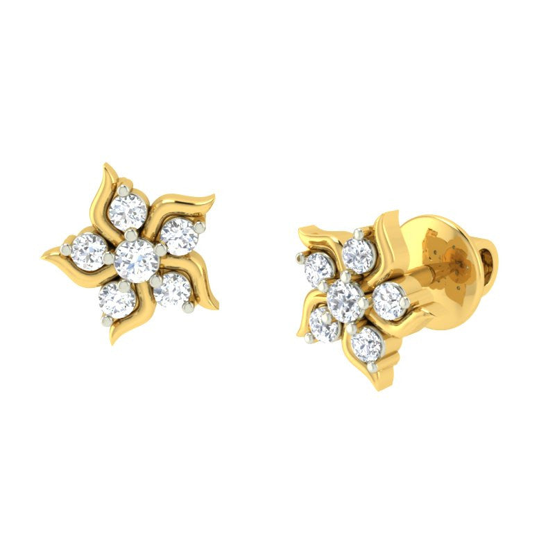 diamond studded gold jewellery - Lilita Earring Tops - Pristine Fire - 1