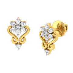 diamond studded gold jewellery - Vilma Earring Tops - Pristine Fire - 1