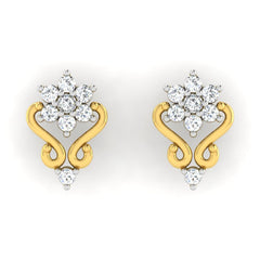 diamond studded gold jewellery - Vilma Earring Tops - Pristine Fire - 2