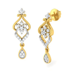 diamond studded gold jewellery - Lejla Dangler Earring - Pristine Fire - 1