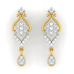 diamond studded gold jewellery - Lejla Dangler Earring - Pristine Fire - 2