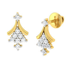 diamond studded gold jewellery - Fflur Earring Tops - Pristine Fire - 1