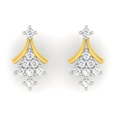 diamond studded gold jewellery - Fflur Earring Tops - Pristine Fire - 2