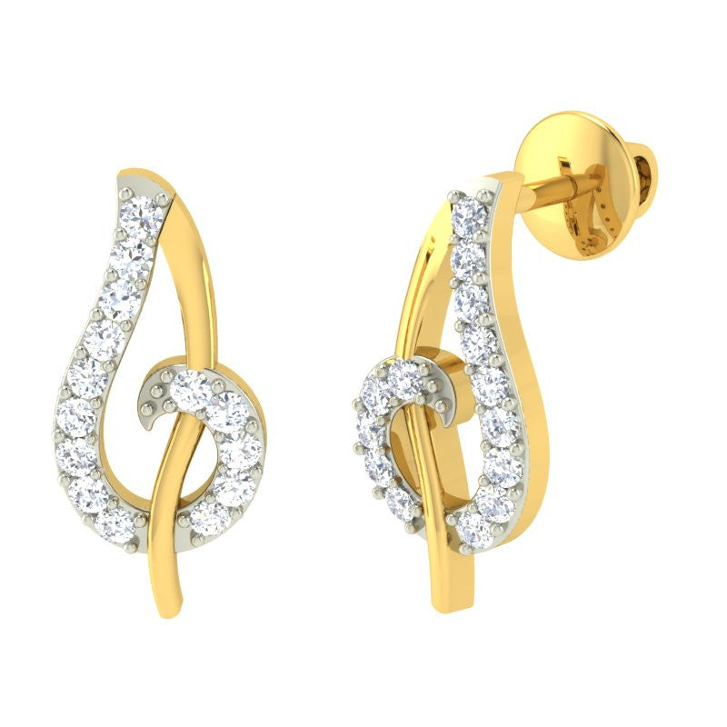 diamond studded gold jewellery - Marlen Earring Tops - Pristine Fire - 1