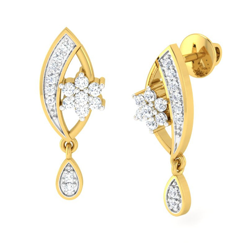 diamond studded gold jewellery - Anita Dangler Earring - Pristine Fire - 1