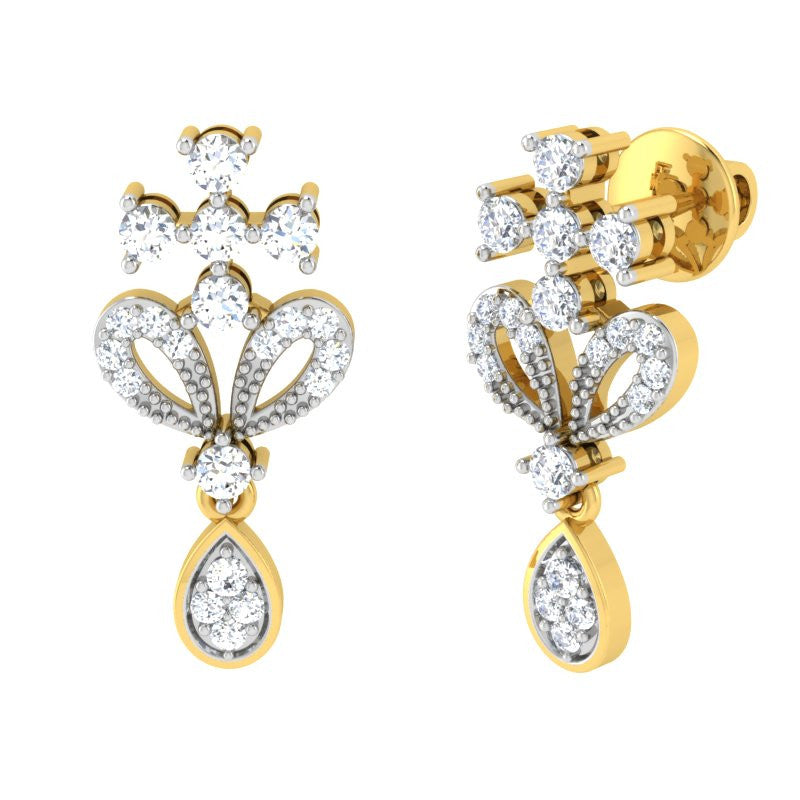 diamond studded gold jewellery - Marjani Dangler Earring - Pristine Fire - 1