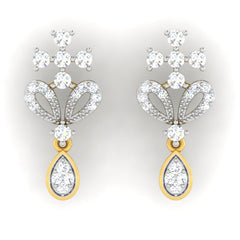 diamond studded gold jewellery - Marjani Dangler Earring - Pristine Fire - 2