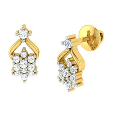 diamond studded gold jewellery - Marilou Earring Tops - Pristine Fire - 1