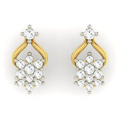 diamond studded gold jewellery - Marilou Earring Tops - Pristine Fire - 2