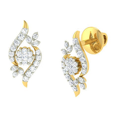 diamond studded gold jewellery - Becky Earring Tops - Pristine Fire - 1