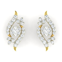 diamond studded gold jewellery - Becky Earring Tops - Pristine Fire - 2