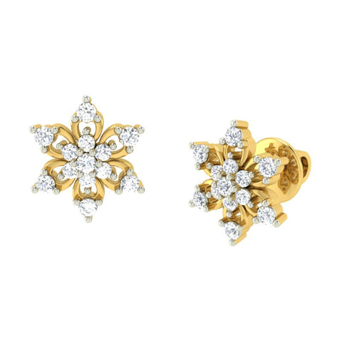 diamond studded gold jewellery - Lucy Earring Tops - Pristine Fire - 1